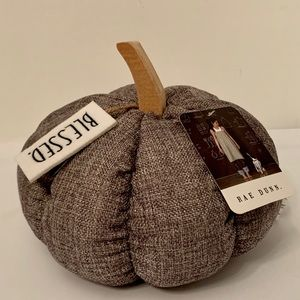 Rae Dunn Gray Fabric Pumpkin w/ Wood Stem